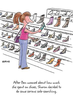 Sharon Shoe Shopping Funny Birthday Greeting Card