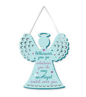 May An Angel Watch Over You Hanging Plaque With Ribbon