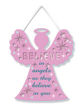 Believe In Angels Hanging Plaque With Ribbon