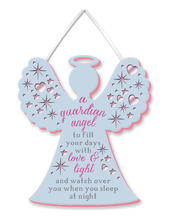 A Guardian Angel Hanging Plaque With Ribbon