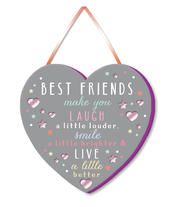 Best Friends Make You Laugh Hanging Plaque With Ribbon