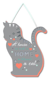 Cat House Not A Home Hanging Plaque With Ribbon