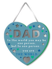 Dad You Are The World Hanging Plaque With Ribbon
