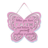 When You Have Faith Hanging Plaque With Ribbon