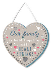 Our Family Heart Strings Hanging Plaque With Ribbon