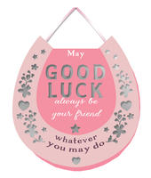 Good Luck Hanging Plaque With Ribbon