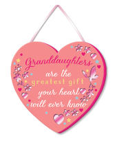 Granddaughter Greatest Gift Hanging Plaque With Ribbon
