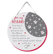 Husband Moon & Stars Hanging Plaque With Ribbon