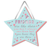 Friends Are Like Stars Hanging Plaque With Ribbon