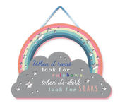 Look For Rainbows Hanging Plaque With Ribbon