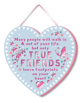 True Friends Leave Footprints Hanging Plaque With Ribbon