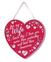 Wife I Love You Hanging Plaque With Ribbon