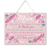 Thank You Mum Hanging Plaque With Ribbon