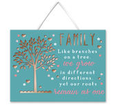 Family Tree Roots Hanging Plaque With Ribbon