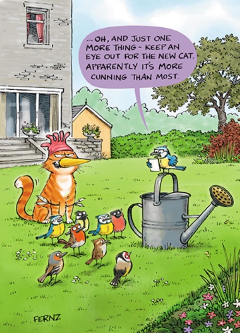 Cunning Cat Funny Birthday Greeting Card