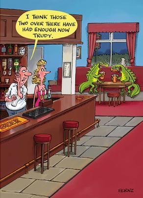 Lizard Drinking Funny Birthday Greeting Card