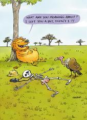 Lion & Vulture Funny Birthday Greeting Card