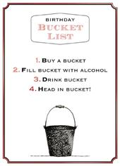Bucket List Funny Wine O'clock Birthday Greeting Card
