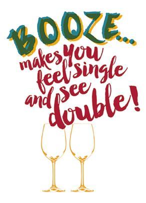 Booze Warning Funny Wine O'clock Birthday Greeting Card