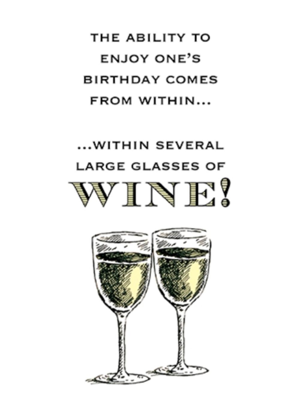 Several Glasses Funny Wine Oclock Birthday Greeting Card
