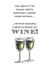 Several Glasses Funny Wine O'clock Birthday Greeting Card