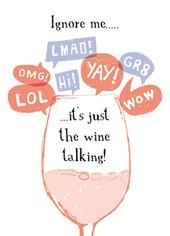 Wine Talking Funny Wine O'clock Birthday Greeting Card