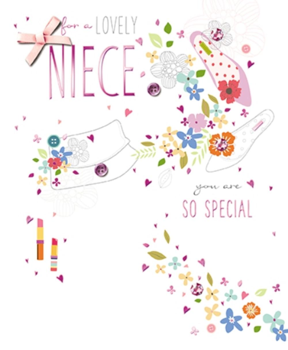 Lovely Niece Embellished Birthday Greeting Card
