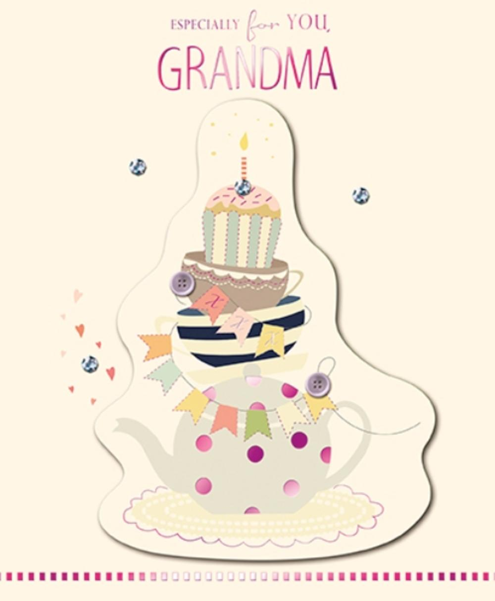 For You Grandma Embellished Birthday Greeting Card