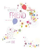 Wonderful Friend Embellished Birthday Greeting Card