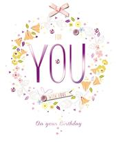 For You Embellished Happy Birthday Greeting Card