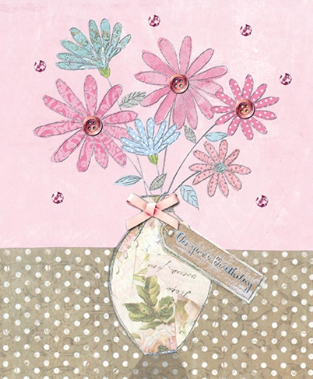 Beautiful Embellished Flowers Birthday Greeting Card