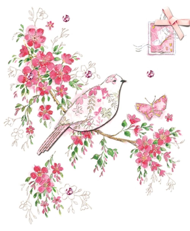 Beautiful Embellished Bird Birthday Greeting Card