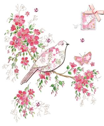 Beautiful Embellished Bird Birthday Greeting Card