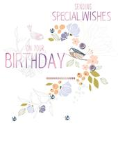 Sending Special Wishes Embellished Birthday Greeting Card