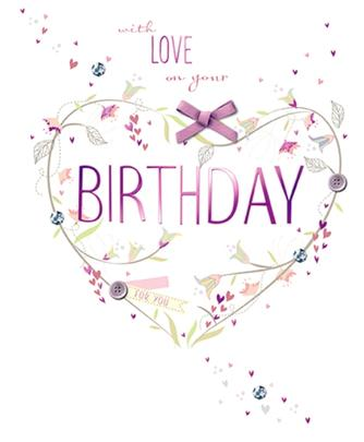 With Love Embellished Birthday Greeting Card