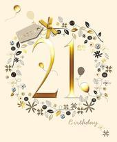 Happy 21st Birthday Embellished Greeting Card