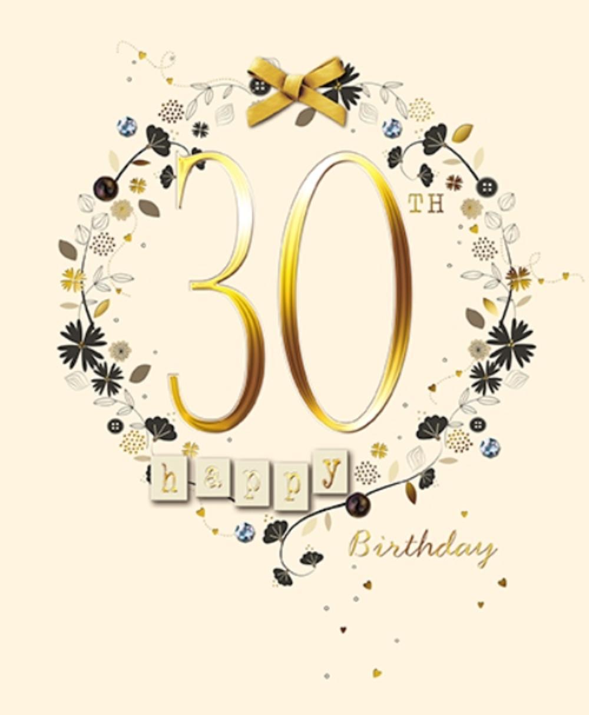 Happy 30th Birthday Embellished Greeting Card