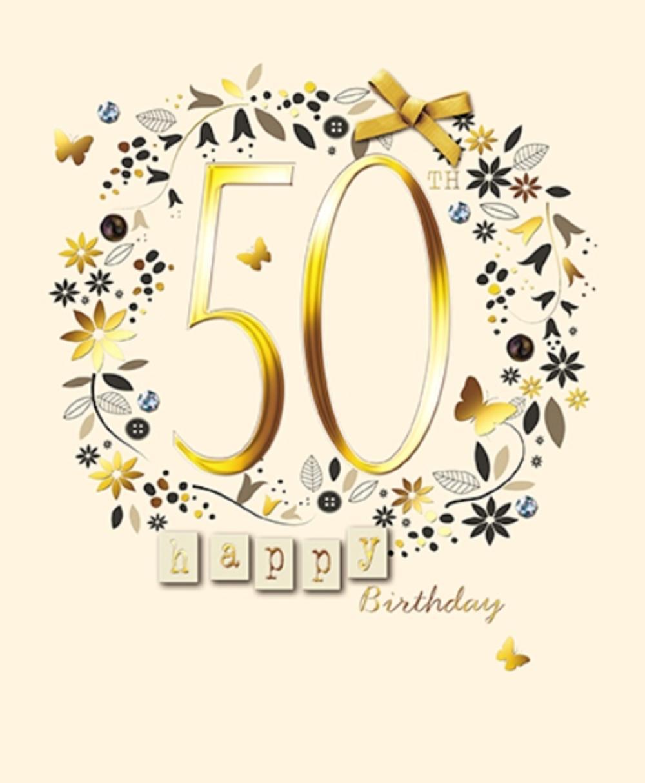 Happy 50th Birthday Embellished Greeting Card