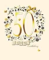 Happy 50th Birthday Embellished Greeting Card