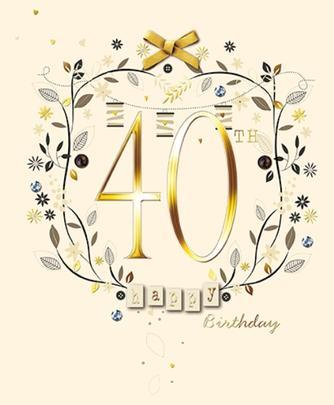 Happy 40th Birthday Embellished Greeting Card