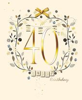 Happy 40th Birthday Embellished Greeting Card