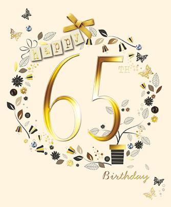 Happy 65th Birthday Embellished Greeting Card