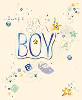 New Baby Boy Embellished Congratulations Greeting Card