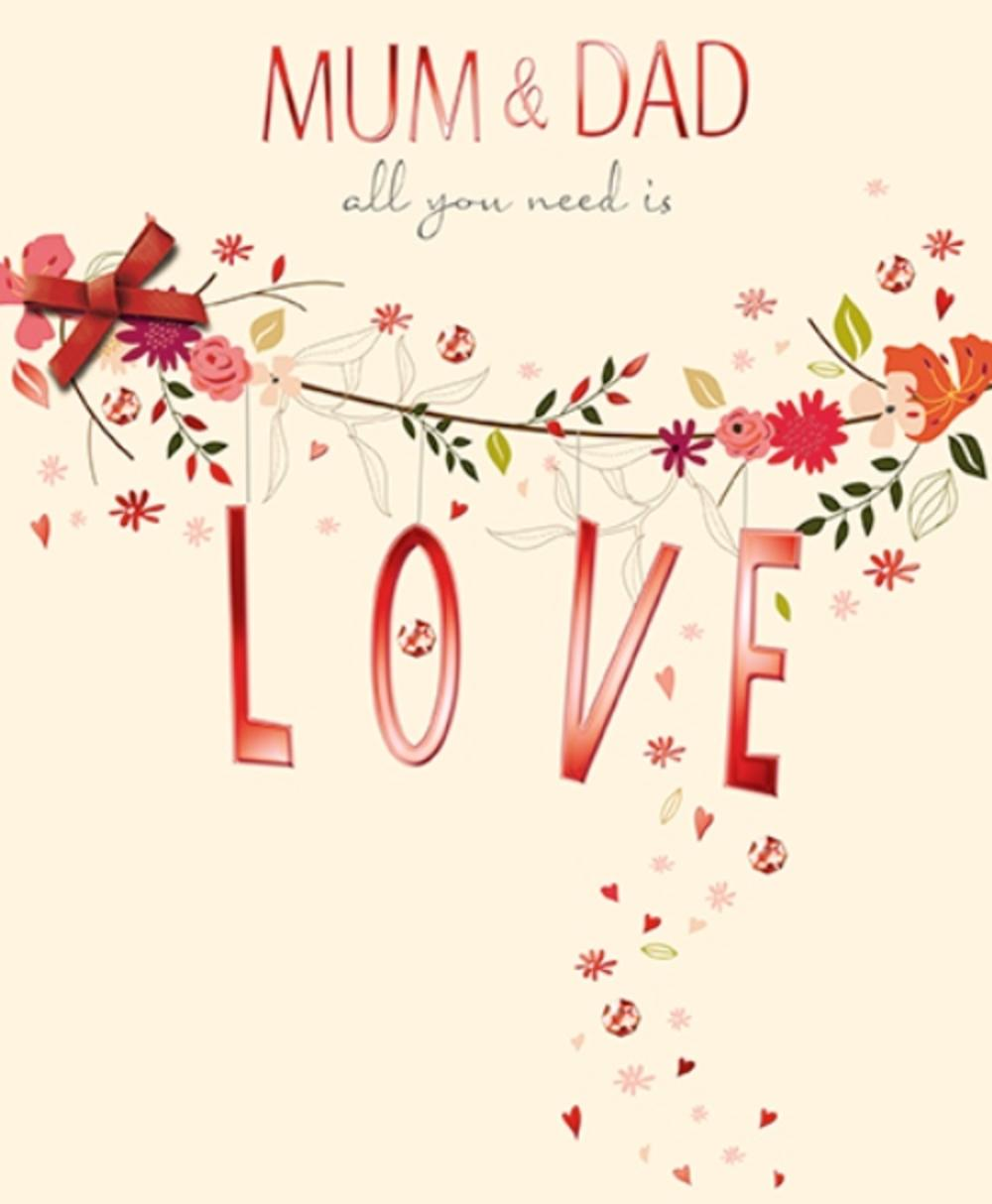 mum  dad embellished anniversary greeting card  cards
