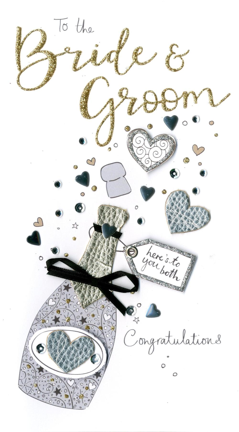 Bride & Groom Wedding Day Luxury Champagne Greeting Card