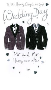 Male Couple Wedding Day Luxury Champagne Greeting Card