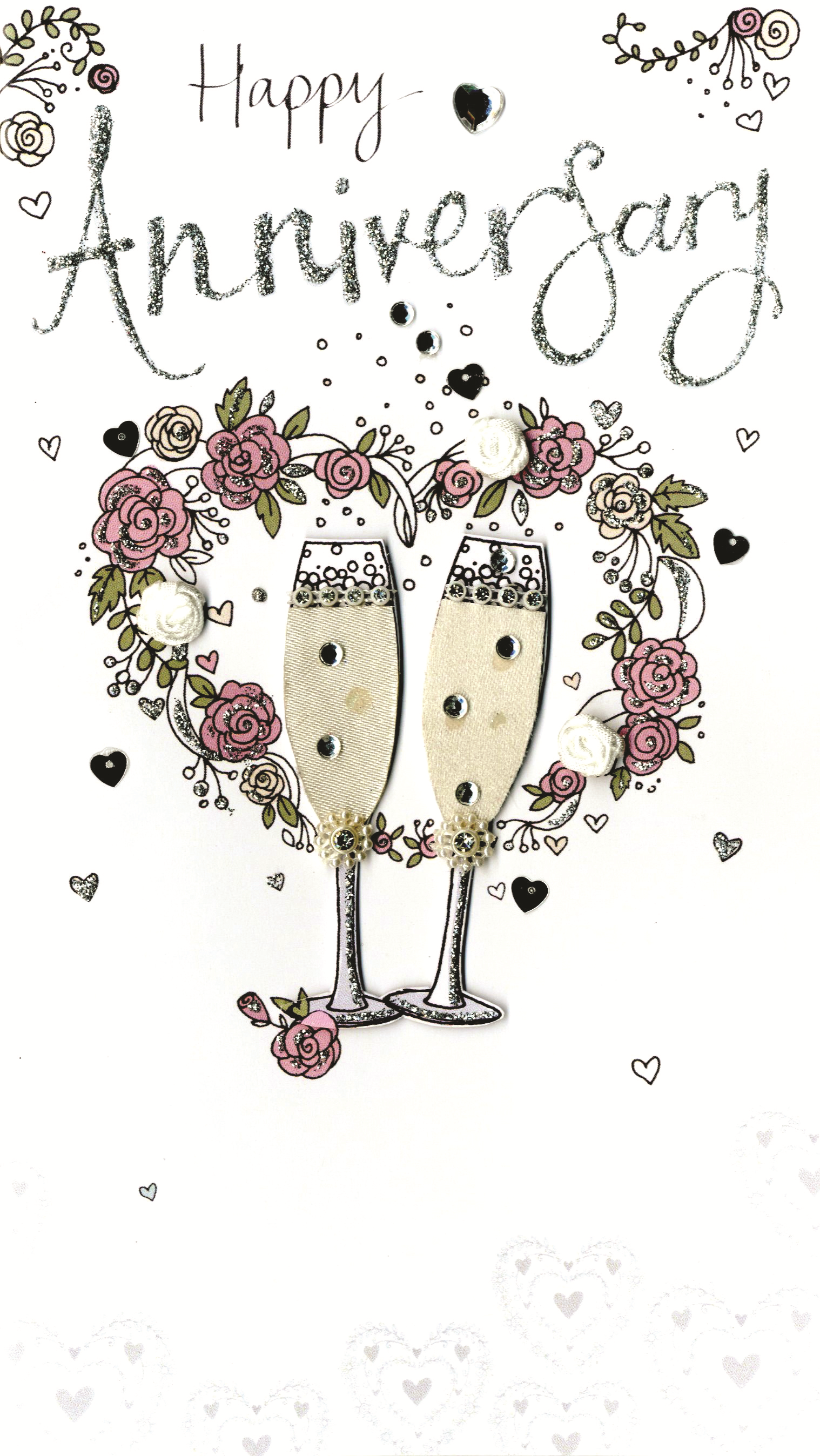 Happy Anniversary Luxury Champagne Greeting Card Cards