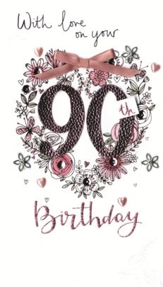 Female 90th Birthday Luxury Champagne Greeting Card