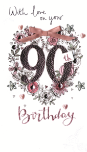 Female 90th Birthday Luxury Champagne Greeting Card