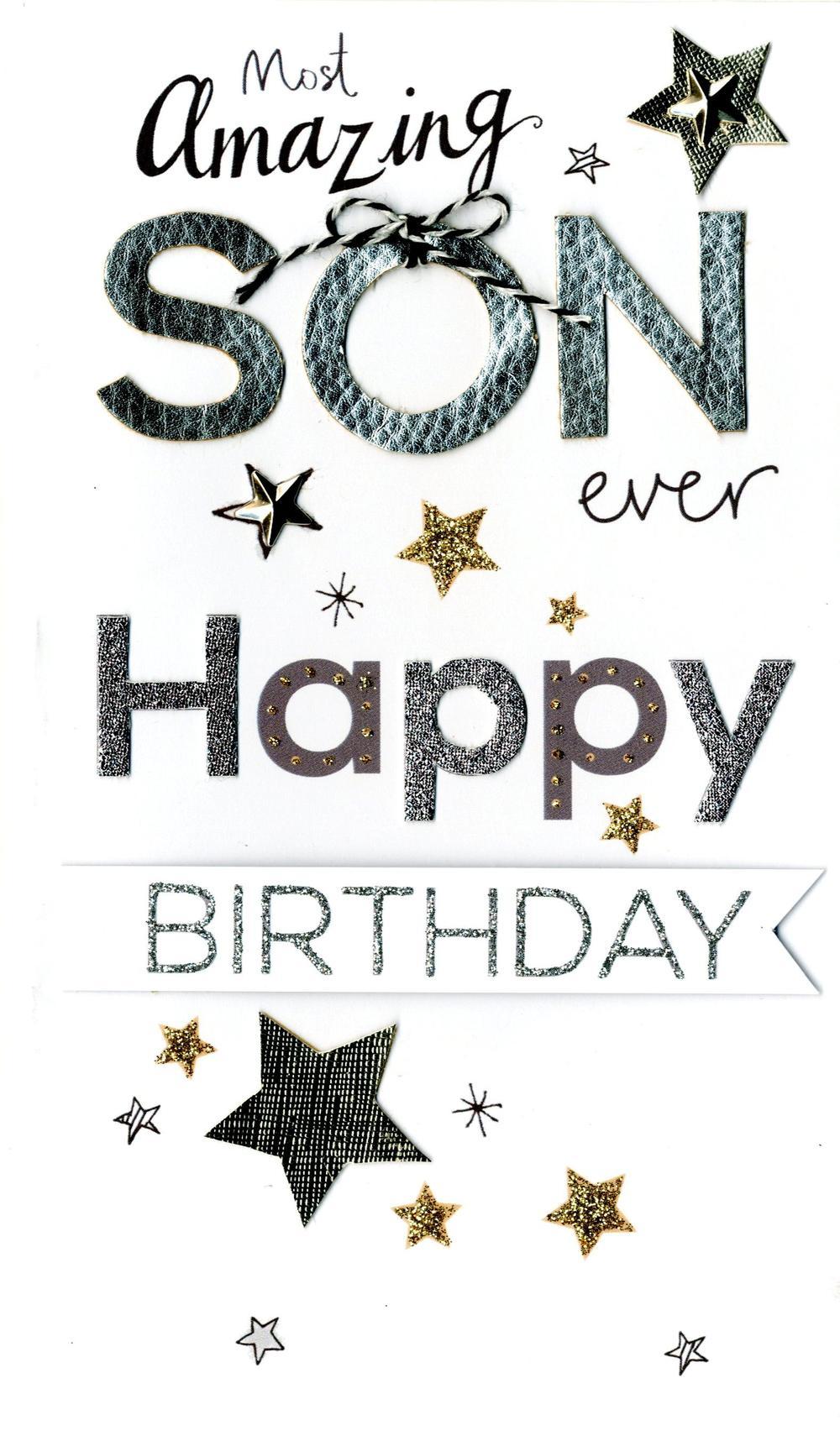 Son Birthday Luxury Champagne Greeting Card